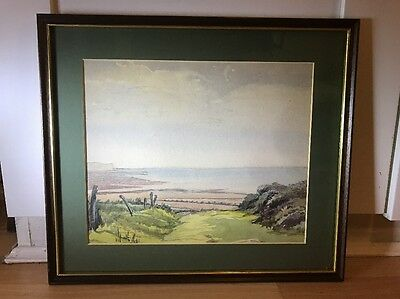 Lovely Vintage 1930's Watercolour Painting Of Seascape In Wood Frame