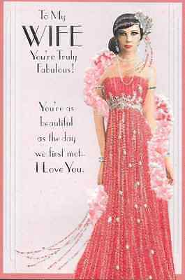 To My Wife Happy Birthday  Card,Art Deco,Top Quality ,Glitter Pink (G1)
