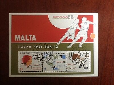 MALTA 1986 World Cup Soccer Mexico Used Sheet Sc 679/681 Cancelled V/F 2234