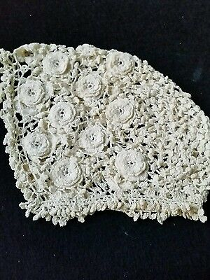 vintage hand crocheted baby cap with rosettes
