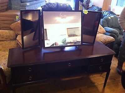 Vintage Retro Stag Dressing Table / Sideboard With 3 Mirrors