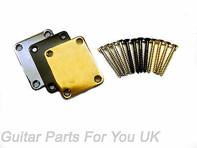 Electric Guitar Neck plate and screws  stratocaster telecaster all colours
