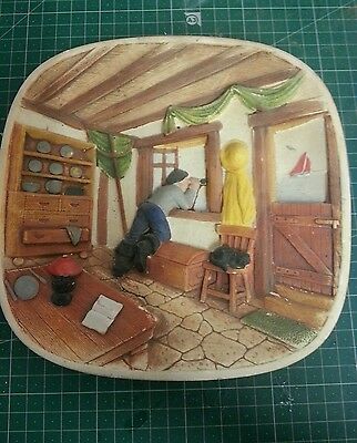 Legend Products England Fisherman wall plate 3D 1967