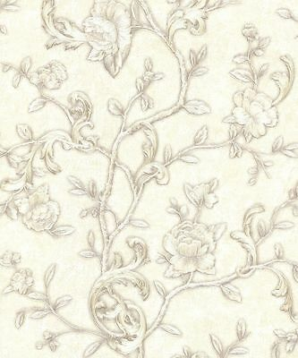Vintage Angelica Ivory Floral Glitter Motif Vinyl Wallpaper by Arthouse (291102)