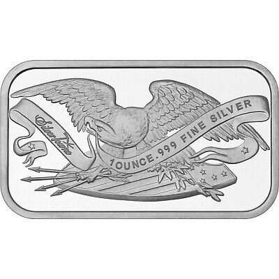 Retro SilverTowne Eagle & Shield 1oz .999 Fine Silver Bar