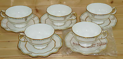 """Royal Crown Derby Lombardy Set of (5) Footed Cups, 2 3/8"""" & (5) Saucers, 5 7/8"""""""