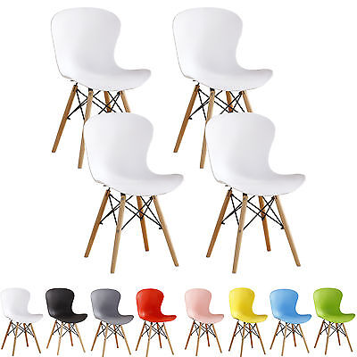 4x Eiffel DS Chairs Retro ABS Plastic White Black Grey Red Green Blue Pink