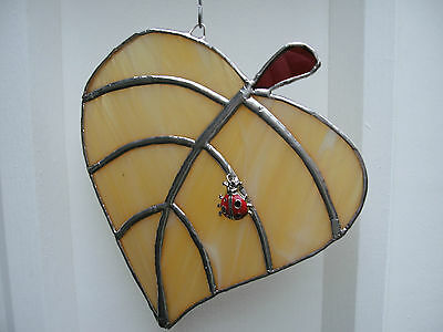 Stained Glass Leaf with Ladybird Suncatcher