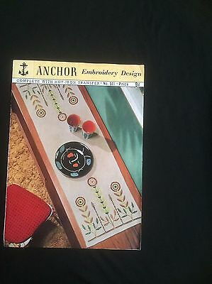 Vintage Anchor Embroidery Design for Runner + Unused Transfer