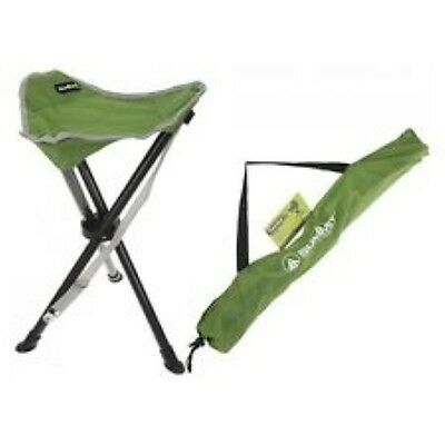 Summit Tripod Stool Green Folding Lightweight With Carry Bag Camping Fishing
