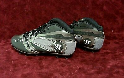 New With Box Warrior Lacrosse Burn 7.0 Mid Cleats ~ Kids Size 4 1/2 ~ Blk/silver