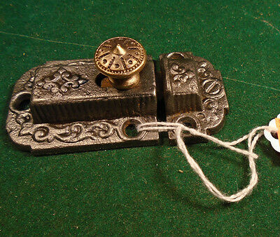 VINTAGE EASTLAKE CABINET LATCH w/ BRASS KNOB & w/KEEPER   (5930-121)