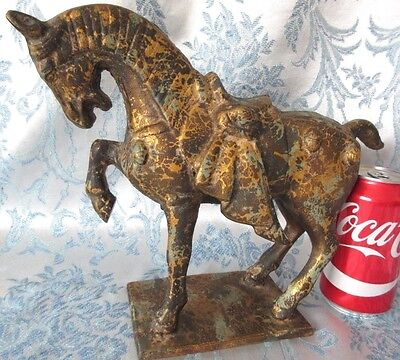 "Large VTG Chinese Tang Style War Horse Statue Gold Wash Cast Iron Figure 12""x9"""