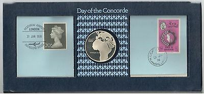 1976 SILVER COIN +  Day of the Concorde + Excellent + Booklet & Envelope