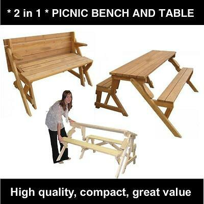 Wood Folding Picnic Table and Bench 2 in 1