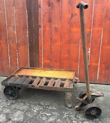 Old Vintage Antique Cast Iron Steel TUGLIFT Trolley Industrial Architectural