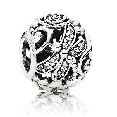 Genuine & Authentic Pandora Sterling Silver Dragonfly Meadow Charm. 791733CZ.