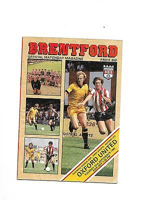 1981/2 Brentford v Oxford United (league cup) football programme