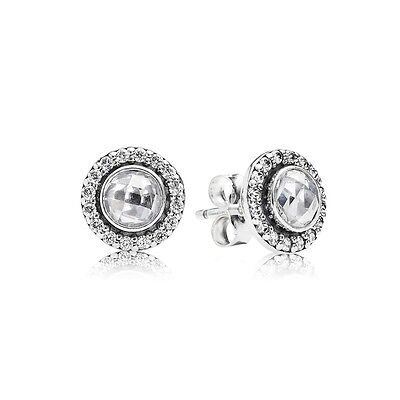 GENUINE & AUTHENTIC PANDORA Silver Statement Sparkling Stud Earrings. 290553CZ.