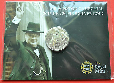 Royal Mint 2015 Silver Winston Churchill  £20 Coin BU