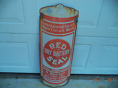 "Vintage Red Dry Battery Seal Porcelain Sign  34"" X 13""   ""rare"""