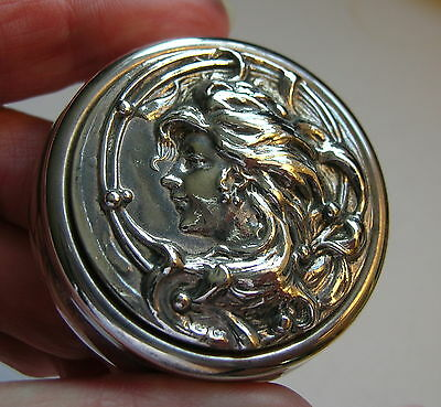 Classic Art Nouveau Round Vintage Silver Plate Maiden Trinket Box W Gilt Lining