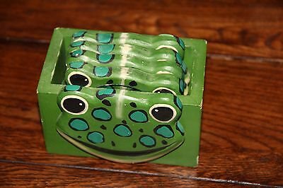 Handpainted Wooden Green Frog Coasters Perfect Tropical Patio Decor