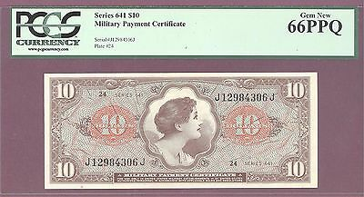 Series 641 $10  Military Payment Certificate [MPC] PCGS 66 GEM NEW Plate #24