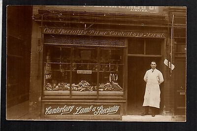 Atherstone - London Central Meat Co. Butchers Shop - real photographic postcard