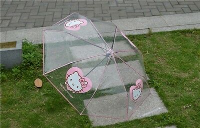 2016 New Hello Kitty Umbrella Transparent Umbrella For Girls Kids Fashion Gift