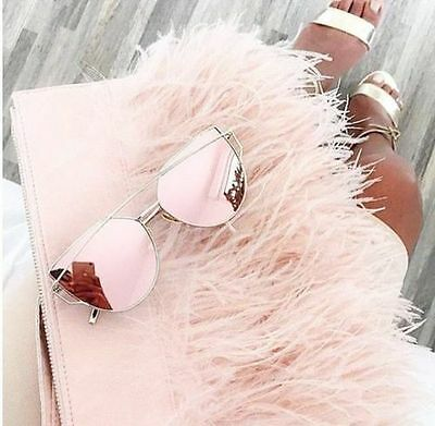 LUXE !! ROSE GOLD Pink MIRRORED Reflective AVIATOR SUNGLASSES Celebrity