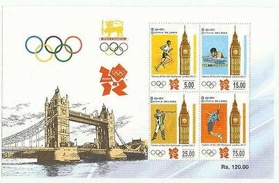 Sri Lanka 2012 Mnh Ms Olympic Games Olympic Sport Sports Running Swimming