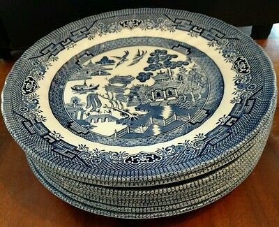 "QUEEN'S china BLUE WILLOW pattern DINNER PLATE 10"" Set of (8)"