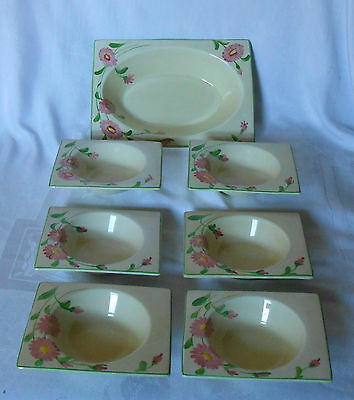 Clarice Cliff The Biarritz Fruit Bowls Set For  Royal Staffordshire