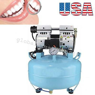USA Ship Noiseless Oil Free Oilless Air Compressor for Dental Chair 30L 130L/min