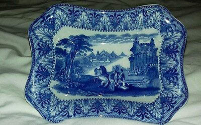 Blue and white Royal Cauldon Chariot dish.