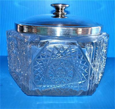 Antique CUT CRYSTAL 19th CENTURY Covered Candy Cracker  Biscuit Hexagon Jar