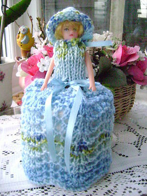 Hand Knitted Bluebell Doll Toilet Roll Cover