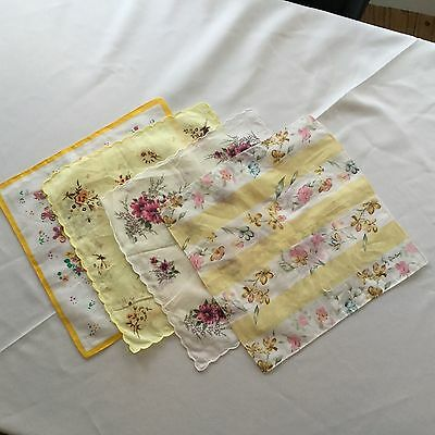 "Lot Of 4 VINTAGE HANDKERCHIEF 100% COTTON SCALLOP WHITE FLOWERS ""My Darling"""