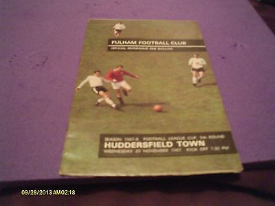 Fulham V Huddersfield Town League Cup Programme 1967