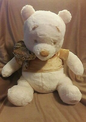 DISNEY STORE Authentic White / Cream WINNIE THE POOH plush Gold shirt & bow 18""