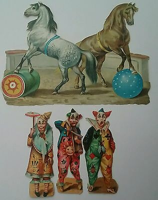 A Selection of Victorian  Circus Scraps, Clowns & Performing Horses