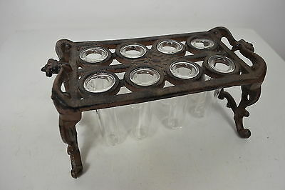 Antique Victorian Cast Iron Test Tube Holder With Original Glass Test Tubes