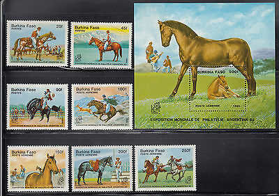 Burkina Faso 1985 Horses Sc 724-731 complete mint never hinged