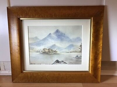 Lovely Signed 1930's Watercolour Painting Of Lake/mountain Scene In Wood Frame