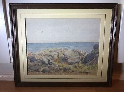 Lovely Signed 1930's Watercolour Painting Of Seascape In Wood Frame