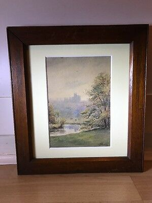 Charming Signed Vintage 1930's Watercolour Painting Of Landscape In Oak Frame