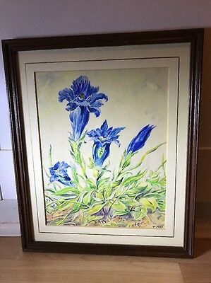 Beautiful Signed Vintage Watercolour Painting Of Gentian Flowers in Wood Frame