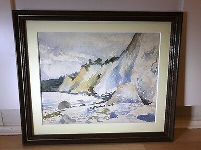 Vintage 1930's Signed Watercolour Painting Of Coastal Scene In Wood Frame