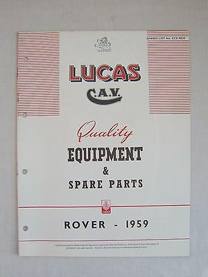 1959 Rover & Land Rover Lucas Equipment & Spare Parts Manual Cce 905H